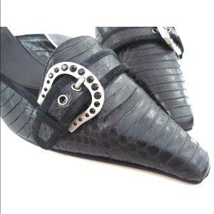 Vintage HAROLD'S Leather Snakeskin Buckle Mules